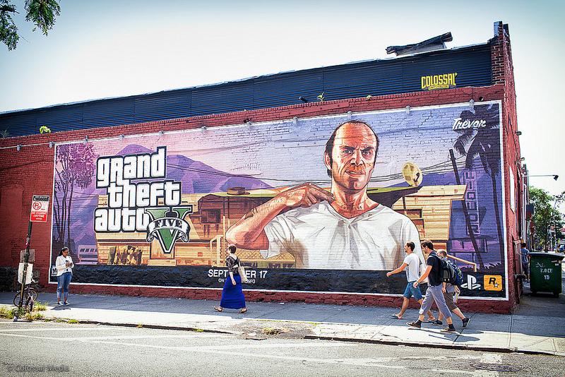 Нарисованная реклама GTA5 в Нью-Йорке, 17 сентября 2013 (New York GTAV).